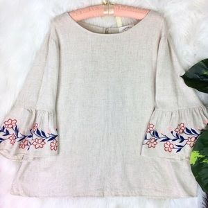 JANETTE PLUS IVORY LINEN BOHO TOP W EMBROIDERY